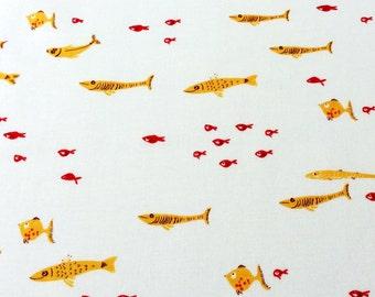 Fabric, Heather Ross Mendocino, Goldfish on White, Fuchsia School of Fish, By the Yard