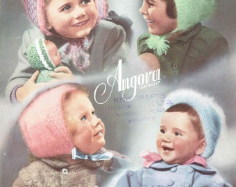 baby angora bonnets vintage knitting pattern PDF