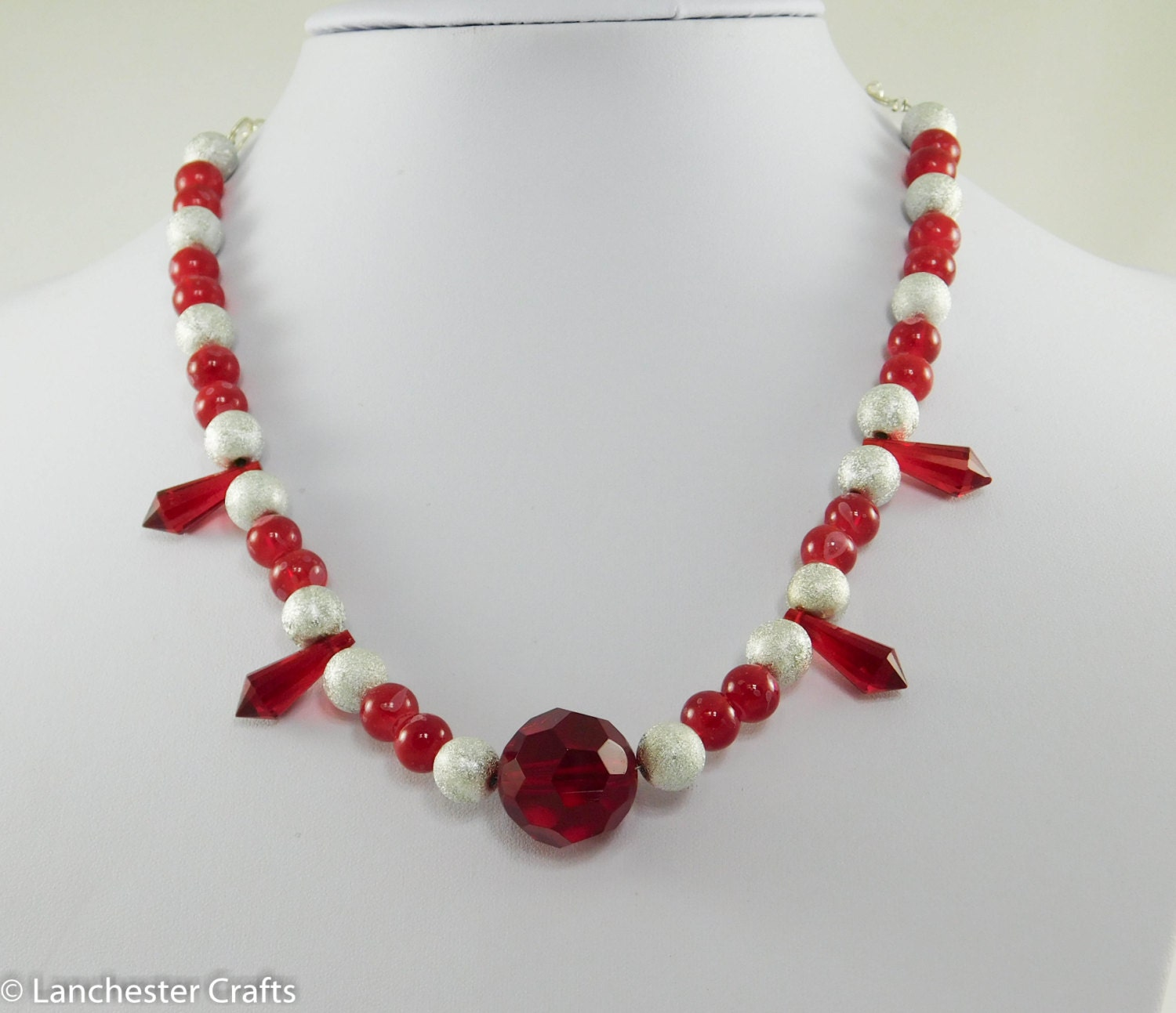 bright and white beaded necklace with swarovski