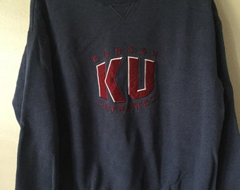 Vintage 90s KU Jayhawks Sweatshirt Kansas University sweat shirt