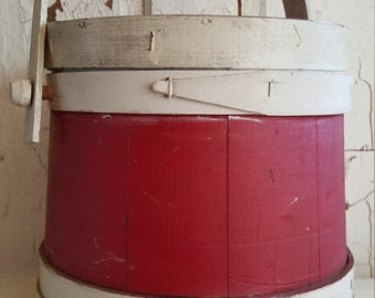 Sweet Sugar Bucket Firkin Bucket Colonial Red and Off White Wood Barrel With Lid and Swing Handle