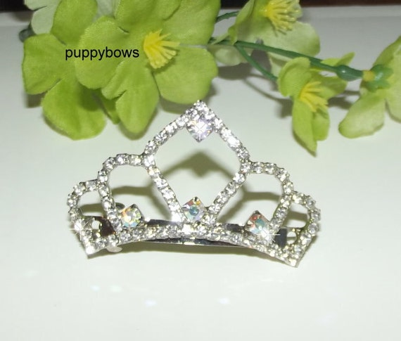 Puppy Bows ~ Rhinestone TIARA multi styles dog hair barrette clip CRYSTAL styles 1-5 ~USA seller