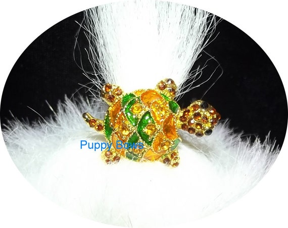 Puppy Bows ~Crystal turtle boy dog bow  pet hair clip barrette