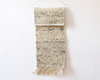Vintage tapestry wall hanging woven carpet white greying wool fringes