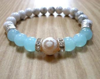 Aquamarine Howlite DZI Agate Mala Bracelet, Healing & Balancing, Mala Bracelet, Yoga, Buddhist, Meditation, Prayer Beads