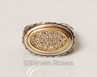 Two Tone 925 Sterling Silver & 585 14k Gold Pave Diamond Ring XL Extra Large Wide Statement Size 7