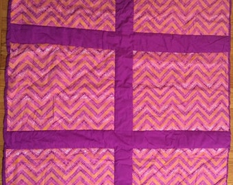 HAND QUILTED QUILT / Throw / Lap Quilt Pink Chevron and Purple