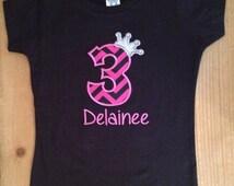 ON SALE Hot Pink and Black Chevron Birthday Princess Shirt or Baby Bodysuit