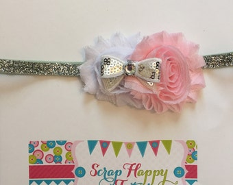 PInk, White, and Silver Shabby Flower Headband