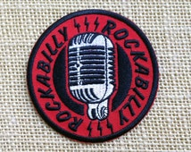 """Microphone Patch for Jackets and Backpacks. Rockabilly Style Iron On Patch. Punk Retro Grunge Rock Tumblr Band Patches. Size: 3"""""""