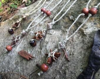 Handmade Pagan Crystal Charm Hemp Layering Necklace