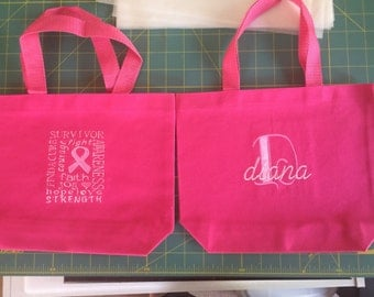 Pink Cancer Awareness Canvas Tote Bag