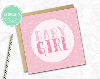 Pretty Pink New Baby Girl Card