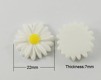 10x White Cabochon, Daisy Cabochon, 22mm Cabs, Flower Cabochon, Embellishment, Scrap booking, Wedding , Cards, Jewellery Making