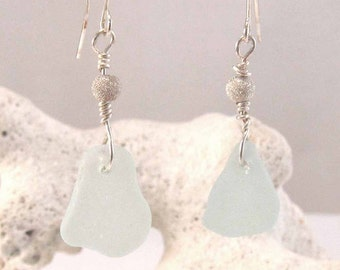Aqua Green Cape Breton, Nova Scotia sea glass dangly earrings with Sterling silver stardust bead on a nickle-free hook