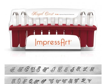 "ROYAL CREST Uppercase Alphabet Letter Stamp Set 6mm ImpressArt Upper Case 1/4"" Script Stamp Design"
