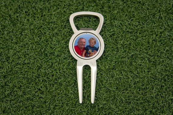 custom bottle opener divot tool with photo ball marker. Black Bedroom Furniture Sets. Home Design Ideas