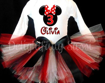 Minnie Mouse Birthday Tutu, Minnie Mouse Tutu, Birthday Tutu, Girls Tutu, Minnie Mouse, Disney Birthday Tutu, Tutu Outfit