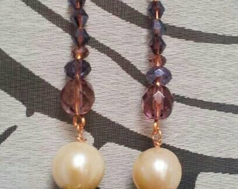 Boulle earrings copper and rocaille