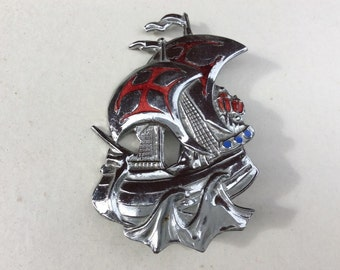 Vintage Silver Tone & Red Enamel Galleon Ship Costume Brooch