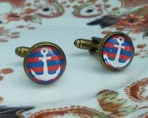 Anchor Cufflinks Blue & Red Stripe 12mm Glass Cameo Metal Antique Bronze Tone Stripey Nautical Rockabilly Wedding Groom Groosmen