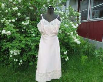 "SALE Vintage 1950s pink lace slip lingerie NOS acetate nylon applique swirls size 38 35"" bust 32"" waist 41"" hips Lerner Shops"