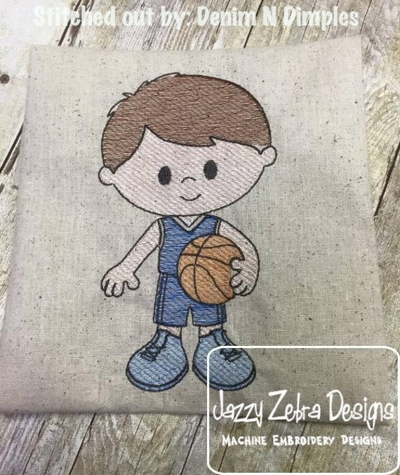 Basketball Boy 2 Sketch Embroidery Design - basketball Sketch Embroidery Design - boy Sketch Embroidery Design