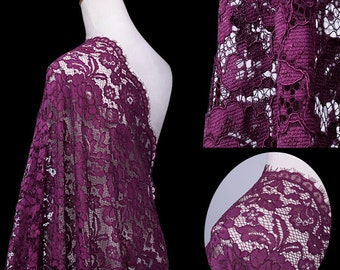 Purple camellia Keel Eyelash Lace Fabric Lace Dress Skirt Fabric Wedding Dress Fabric Wedding Fabric by 1/2m - FSMIL- 150 wide