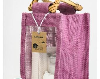 Purple Jute Gift Bag//Window Jar Bag//Burlap Bag//Cosmetic Bag//Eco-Friendly//Biodegradable//Food Bag//Hamper