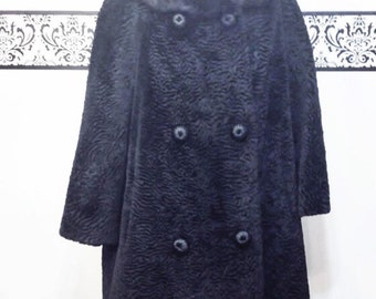 1960's Lux Jet Black Textured Swing Coat w/ Mink Collar and Satin Lining, Vintage, by Maurice L Rothschild for Young-Quinlan Co, Size XL