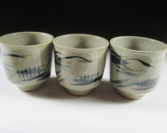 Set of Three Mashiko-ware Teacups