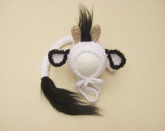 Cow Hat, Newborn Cow Hat Tail Set, Baby cow hat, Photography Prop, Farm animals, Cow Bonnet, Crochet Cow Hat, Newborn Cow Bonnet, Animal Hat
