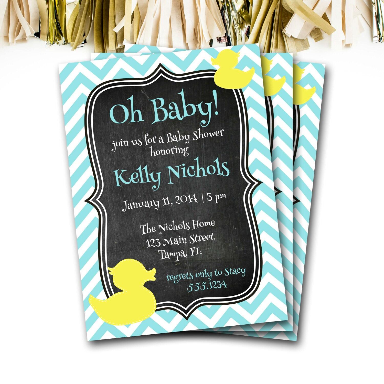 Rubber Ducky Baby Shower Invitation Rubber Ducky Invitation