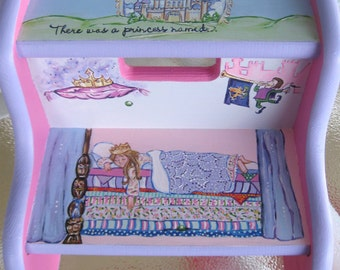 Children's Hand Painted Princess Step Stool, Personalized Fairytale Step Stool, Girls Princess and the Pea Step Stool