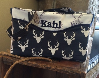 Navy, Deer Heads, XLarge Diaper Bag, Custom Diaper Bag