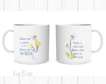 Watercolor Dandelion Wish Mug Coffee Cup Set of 2, Funny Mug , Custom Coffee Cup, Gift For Her, BFF Gift, Personalized Mug