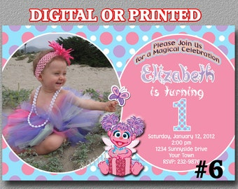 Abby Cadabby Photo Invitation Sesame Street Printable YOU Print Digital File or PRINTED Birthday Party invitation