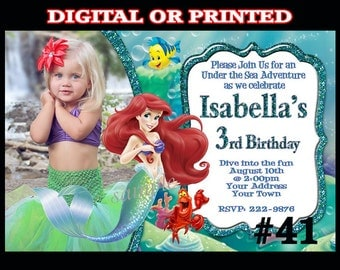 Little Mermaid Ariel Invitation with Photo You Print Digital or Printed   Ariel Birthday Party invite