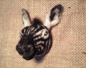 Zebra brooch - needle felted animal badge - felted zebra pin