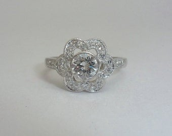 SALE Blossoming Floral Diamond Engagement Ring in Platinum