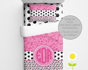 Personalized Soccer Bedding for Kids - Soccer Duvet or Comforter for Girls - Personalized Pink Soccer Duvet Set - Custom Kids' Comforter