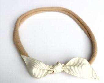Baby Headband / Grosgrain Ribbon Bow / Infant / Newborn Skinny Very Stretchy One Size Fits ALL Nylon / Newborn Headband / Baby Girl Headband