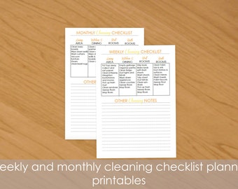 Sunshine Burst weekly and monthly cleaning checklist pages for life planner