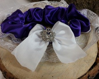Garter white lace and purple satin