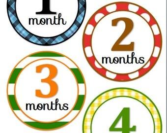Monthly onesie stickers- Boy set