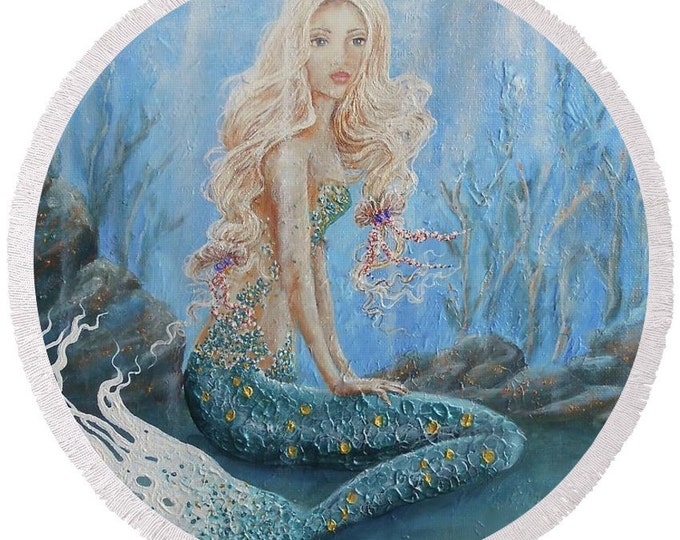 large round mermaid beach towel, mermaid blue festival blanket, mermaid picnic blanket, original painting by Nancy Quiaoit at NancyQart