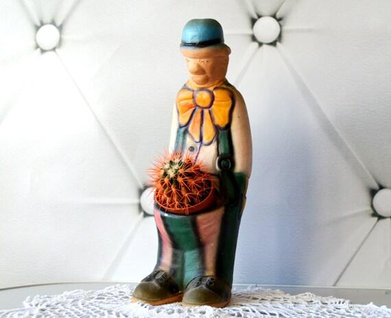 Vintage Clown Planter Clown Flower Pot Ceramic Clown By