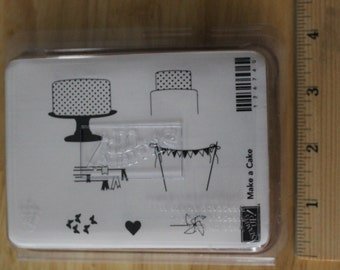 Stampin' Up! Make a Cake Rubber Stamp Set (set of 7 stamps with wooden blocks)