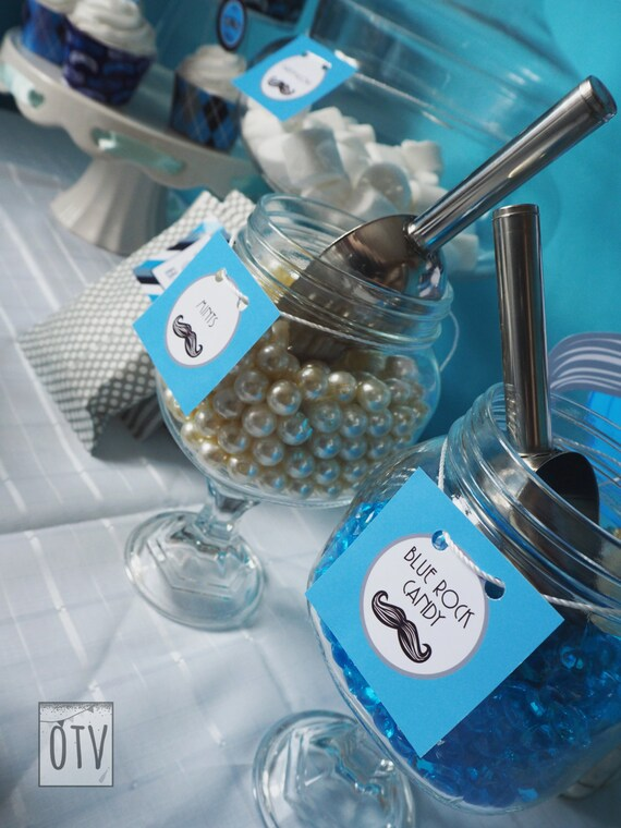 MUSTACHE Bash - Baby Shower - 1st Birthday - CANDY Jar Labels - Baby Boy - Black - Blue - Personalized - PRINTABLE - Pdf - Digital File