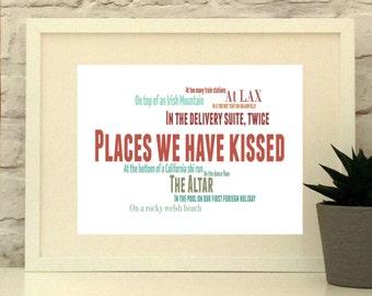 """Gepersonaliseerde """"plaatsen die we hebben gekust"""" afdrukken in de keuze van kleuren, huwelijksgeschenk, huwelijksverjaardag, man, vrouw, vriend, vriendin"""